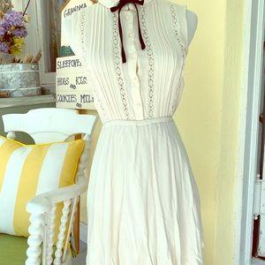 Prairie bohemian collar bow divided dress